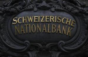 A Swiss National Bank logo is pictured on the SNB building in Bern